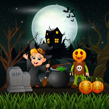 Happy halloween witch and vampire in the night vector illustration