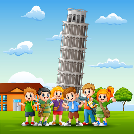 Cartoon happy kids in front of pisa tower background Vector Illustration
