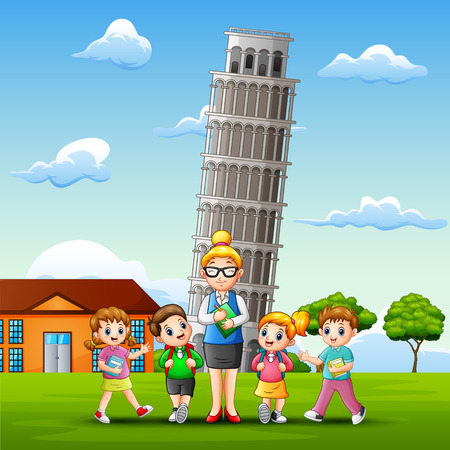 Study outdoors in front of pisa tower background