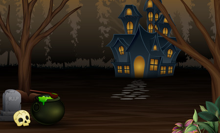 Sfondo di Halloween con casa spaventosa nella notte