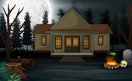 Halloween background with scary house and full moon in the night