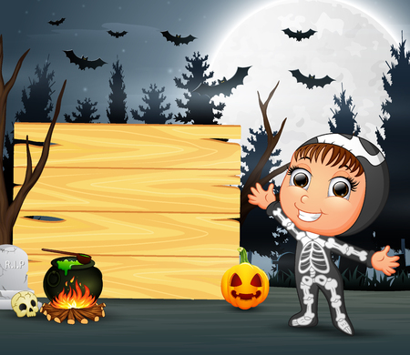 Happy kid wearing skeleton costume stand beside the wooden board Illustration