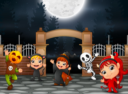 Happy Halloween party with group of children in different costume Stock Vector - 110208485