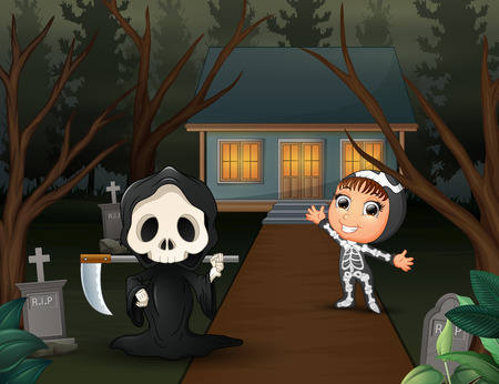 Happy cartoon of grim reaper and skeleton on the home page
