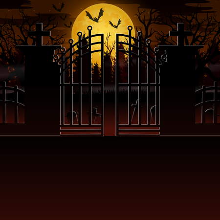 Creepy outdoor scenery with a full moon background Illustration