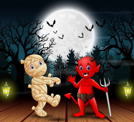 Mummy and red devil outdoors in the night Ilustracja