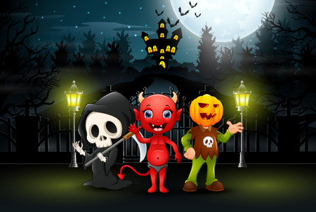 Happy kids wearing halloween costume outdoors at night Illustration