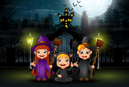 Happy kids wearing halloween costume outdoors at night Illustration