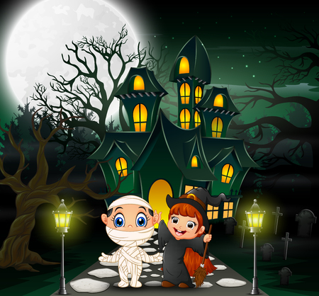 Happy halloween in front of the haunted house with full moon background