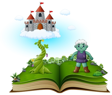 Story book with magic beanstalk, castle in the clouds and the green giant