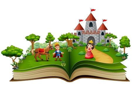 Libro di storie di principi e principesse nel cortile reale Vettoriali