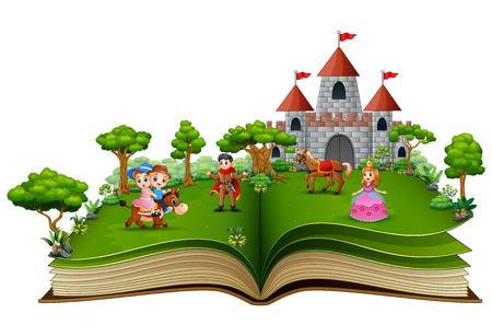 Libro de cuentos con princesas y príncipes de dibujos animados frente a un castillo