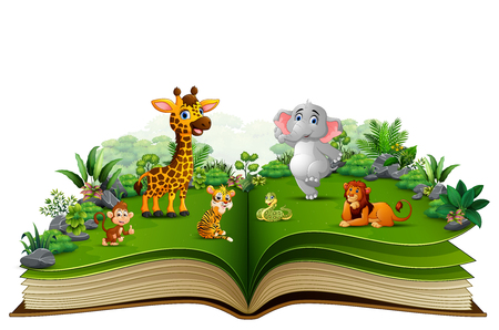 Open book with animal cartoon playing in the park
