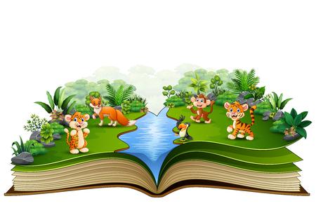 Libro aperto con il cartone animato animale che gioca nel fiume