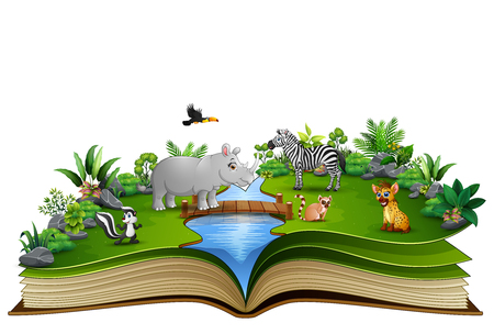 Open book with the animal cartoon playing in the river  イラスト・ベクター素材