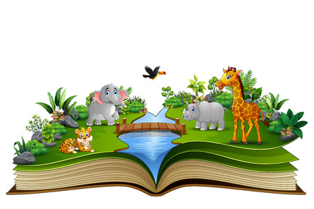 Open book with the animal cartoon playing in the river Vectores