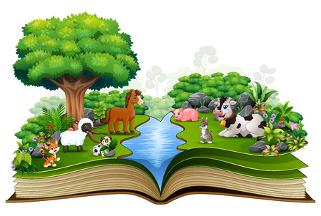 Open book with animal farm playing in the park Vectores