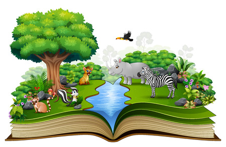Open book with the animal cartoon playing in the river Illustration