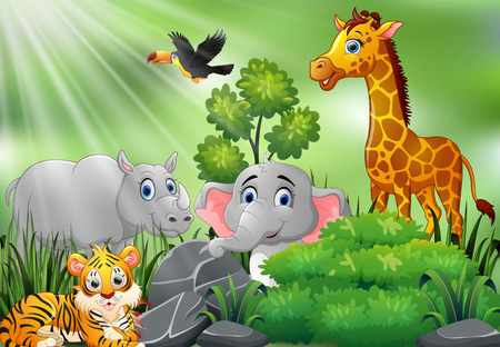 Nature scene with wild animals cartoon