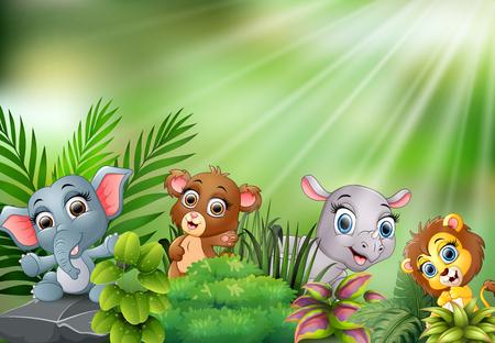 Nature scene with baby animals cartoon Illustration
