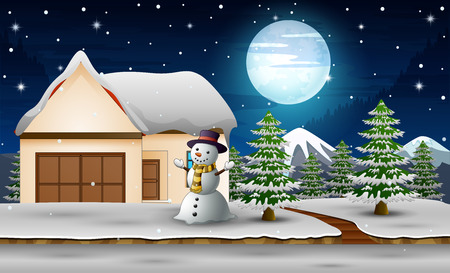 Cute snowman standing next to home in the night