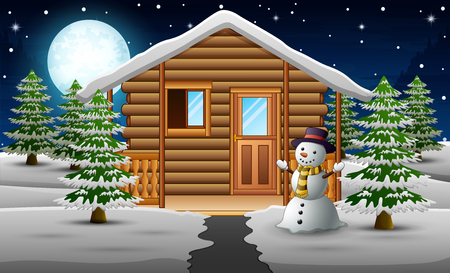 Cute snowman standing in front of the house with a full moon background 矢量图像