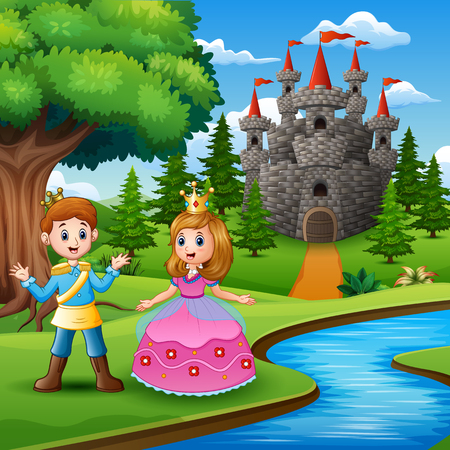 Fairy tale of beautiful Princess and Prince on the edge of the river