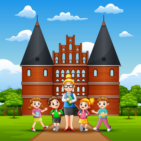 Happy kids study tour in Holstentor