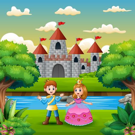 Scena con principe e principessa in riva al fiume Vettoriali
