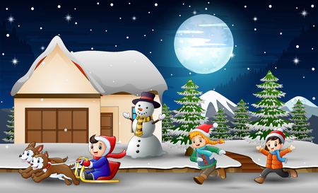 Cartoon of a boy riding sled in front snowing house