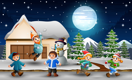 Cartoon kids playing in front of the snowing house