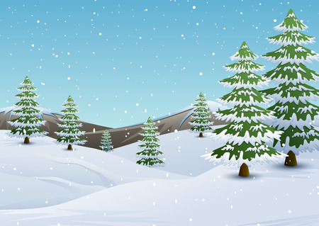 Winter mountains landscape with fir trees and falling snow