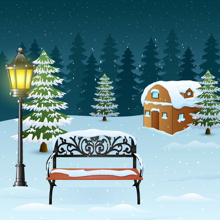 Winter night background with street lamp and bench in front snowy house