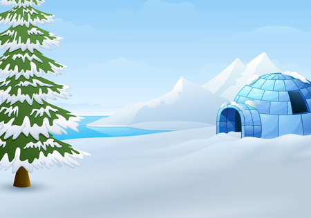 Cartoon of Igloo with fir trees and mountains in winter illustration Illustration