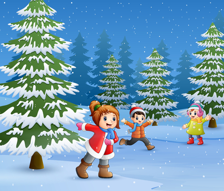 Happy kids to wear winter clothes and play outdoors