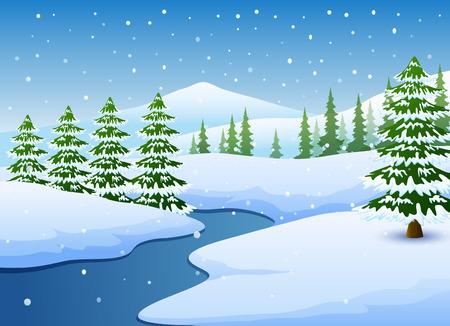 Zimowy krajobraz z zamarzniętym jeziorem i jodłami