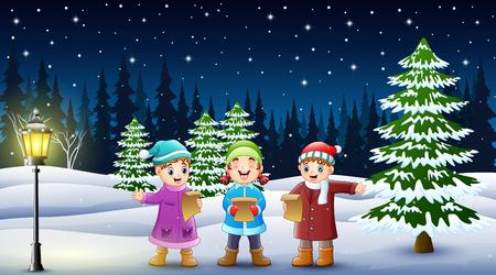 Fröhliche Kindergruppe singt im verschneiten Garten Vektorgrafik
