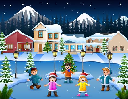 Cartoon of happy kid playing in the snowing village Foto de archivo - 111775407