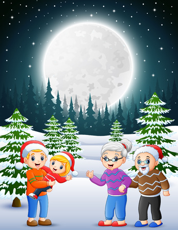 Happy familly in the snowy garden at night 矢量图像