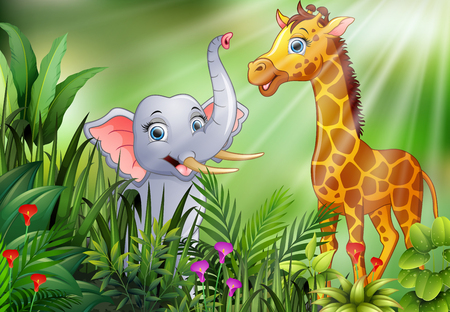 Cartoon of nature scene with elephant and giraffe