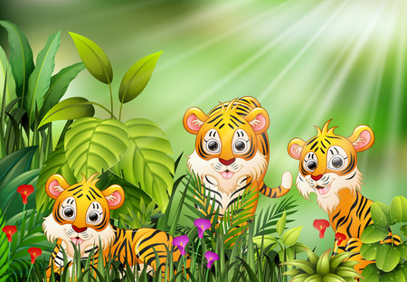 Cartoon of nature scene with group of tiger Ilustrace