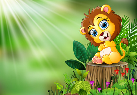Cartoon of baby lion sitting on tree stump with green leaves and flowering plant