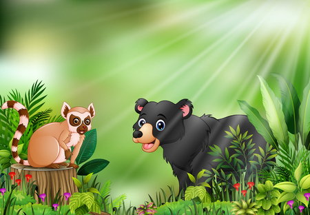 Cartoon of the nature scene with a lemur sitting on tree stump and black bear