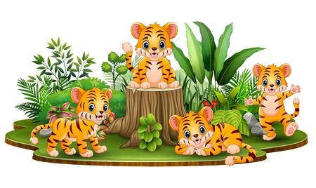 Szczęśliwa grupa tygrysów z zielonymi roślinami Ilustracje wektorowe