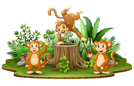 Happy monkey group with green plants Ilustrace