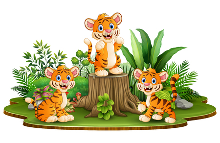 Happy tiger group with green plants Illustration