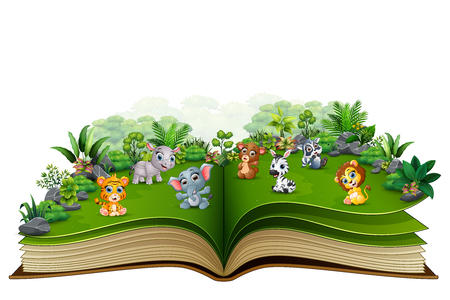 Open book with baby animal cartoon in the park Stok Fotoğraf