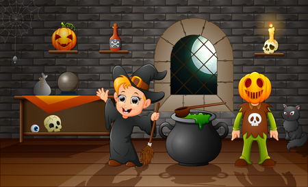 Cartoon of little witch and pumpkin mask Stock Photo