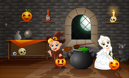 Cartoon of witch and skull bride Stockfoto