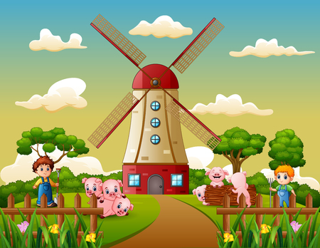 Cartoon two boy is herding pigs in the windmill building background Stock fotó